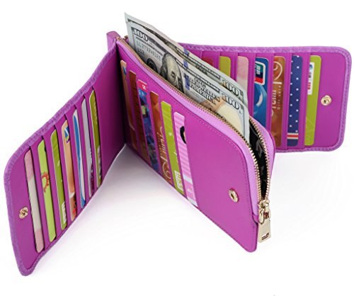 YALUXE Womens Organizer Trifold Leather