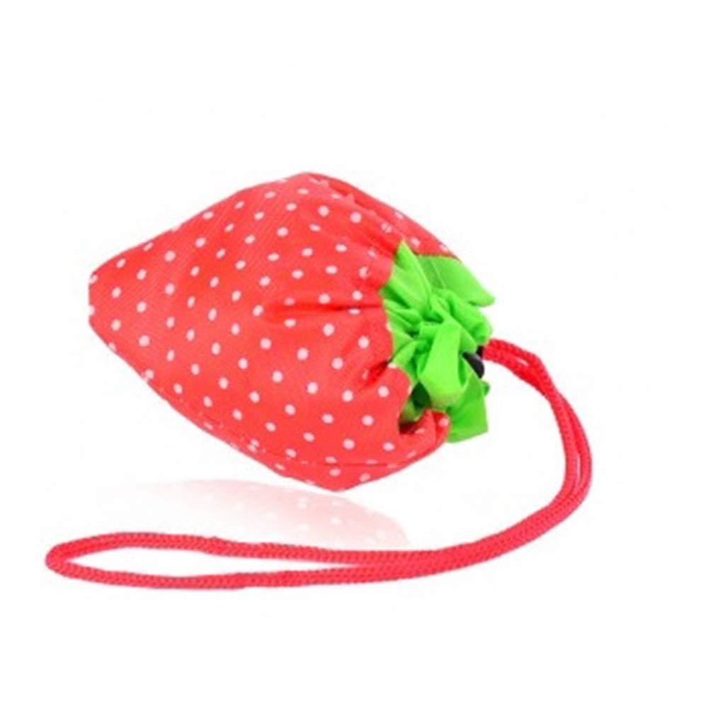 MYCHOME 5PCS Strawberry Recyclable Green Shopping Bag Folding Portable Fashion Green Bag Cloth Bag Tote Bag Shopping Bag (Color : Random)
