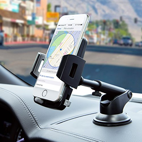 Car Phone Mount, Dashboard Car Phone Holder with Telescoping Long Arm/Quick Release Button/Cable Hook for iPhone Xr Xs X 8 8 Plus 7 7 Plus 6s 5s, Samsung Galaxy S9 S8 S8 Plus S7 and More Smartphones