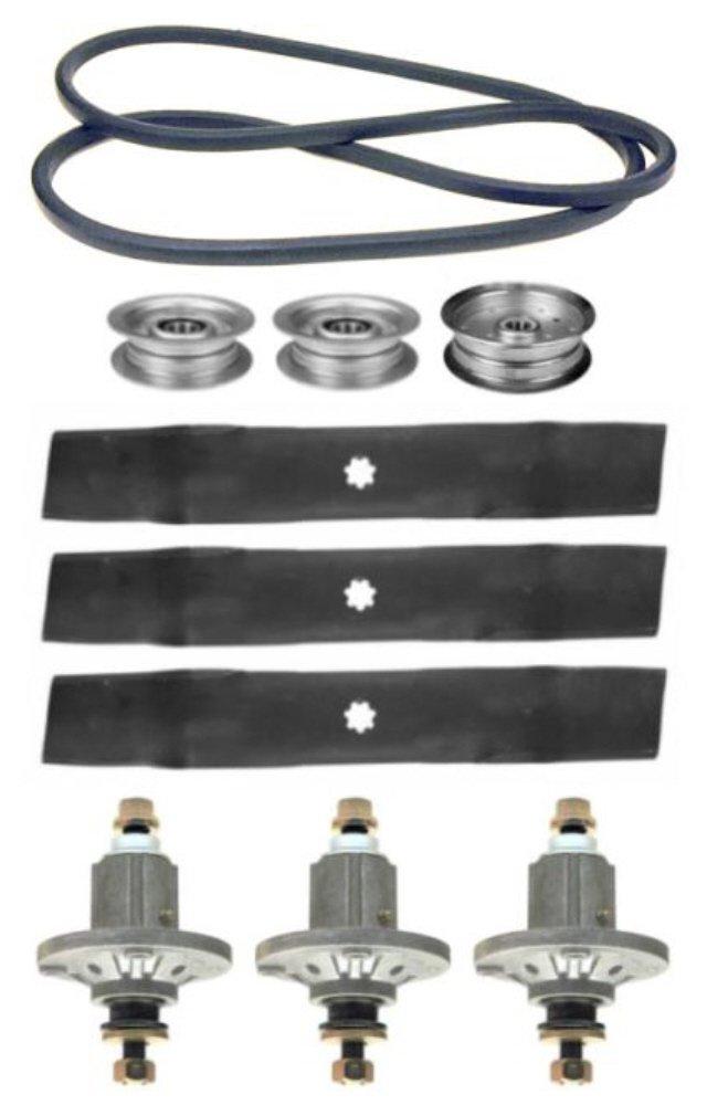 John Deere 145 D140 D150 D155 D160 LA145 LA155 LA165 100 Series 48'' Mower Deck Parts Rebuild Kit Spindles Assemblies Blades Idler Pulleys Belt