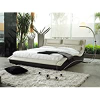 Napoli Modern Platform Bed Cream/black (King)