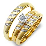 0.15 Carat (ctw) 10K Yellow Gold Round White Diamond Men & Women's Engagement Ring Trio Set