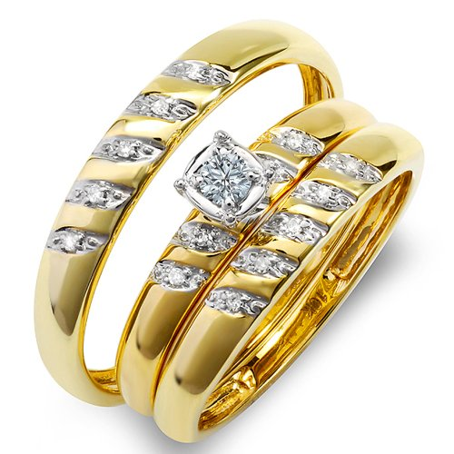 Gold Trio Set Ring - Dazzlingrock Collection 0.15 Carat (ctw) 10K Round White Diamond Men & Women's Engagement Ring Trio Set, Yellow Gold