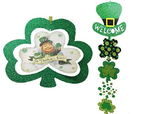 Decorative Glitter Hanging Plaques - Happy St. Patricks Day and Welcome Sign Wall Decor for Home or Office Decoration (Patricks Day Plaque)