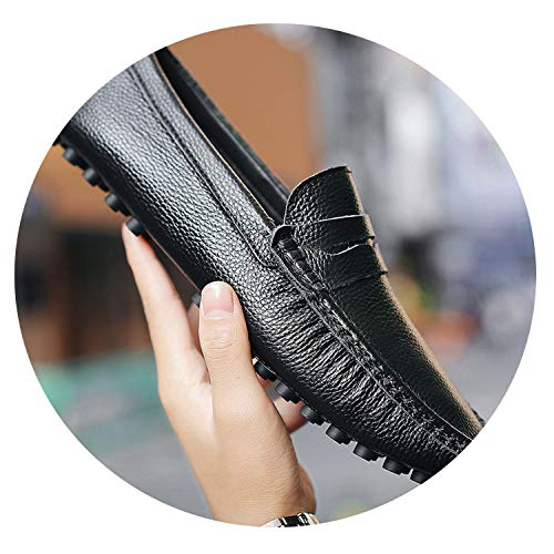 Genuine Leather Men Shoes Luxury Brand Italian Casual Mens Loafers Moccasins Breathable Slip on Boat Shoes,Black,13