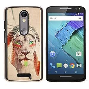 EJOOY---Cubierta de la caja de protección para la piel dura ** Motorola Moto X3 3rd Generation ** --león nativa americana pluma sepia india