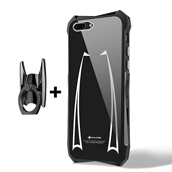 check out 93a37 39fb7 iPhone 8 Plus Case LIGHTDESIRE Aluminum Alloy Bumper Anti-Scratch Resistant  Hard Back Cover with Rotating Finger Ring Shell for iPhone 7 Plus/8 Plus ...