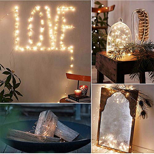 Baulody 100 LED Fairy String Lights 33Ft Battery Operate Firely Silver Coated Copper Wire Mini for Christmas Tree Hollywood Home Garden Patio Party Wedding Decorations Warm (Yellow -Clear ()