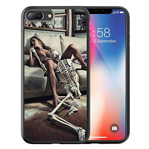 Compatible with Apple iPhone 8 Plus and iPhone 7 Plus, 6.5-Inch, Customized Black Soft Rubber TPU Case for iPhone 8/7 Plus Case Black Ballet Sexy Girl and Skull -