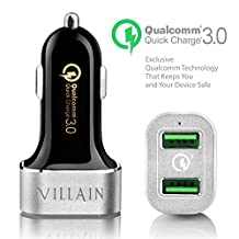 [Quick Charge 3.0] Villain Fast USB Car Charger With Dual Smart Ports - Qualcomm Quick Charge 3.0 Technology - 36W USB Car Charger For Samsung, LG, HTC, iPhones, iPads, GPS, Dash Cams and More