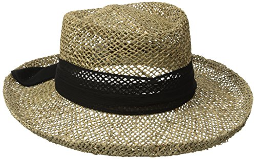 San Diego Hat Company Women's Seagrass Gambler with Poly Chiffon Band, Black, One Size