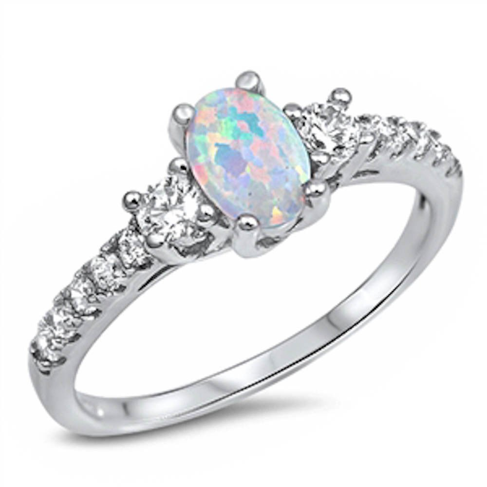Oval Lab Created White Opal & White Cz Fashion .925 Sterling Silver Ring Sizes 3-13 SRO16887 Oxford Diamond Co ODC-R-150327-WO
