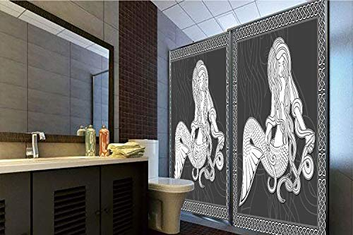 - Horrisophie dodo 3D Privacy Window Film No Glue,Mermaid,Retro Style Art Mermaid Brushing Hair and Border with Celtic Patterns Print,Brown White,70.86