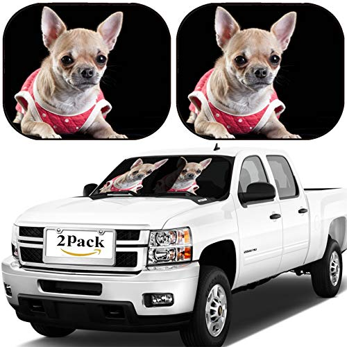 (MSD Car Windshield Sun Shade, Universal Fit, 2-Piece for Car Window SunShades, Automotive Foldable Protector Cover, Image ID 31122912 Chihuahua Dog Wearing red Dress with White Polka dots on Black ve)
