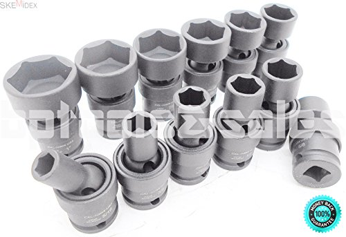 SKEMiDEX---12-PC 3/8'' DR. (SAE) SHALLOW UNIVERSAL IMPACT BALL SWIVEL SOCKET SET. Chrome Molybdenum Alloy Steel (CR-MO) For Exceptional Strength and Durability by SKEMiDEX (Image #2)