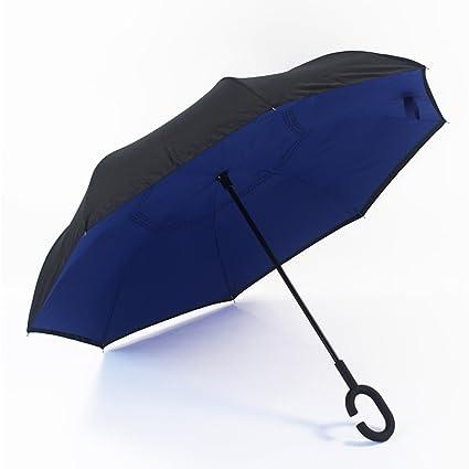 SX-ZZJ Paraguas Plegables Paraguas del Coche del Revés Paraguas C Paraguas Doble Grande para