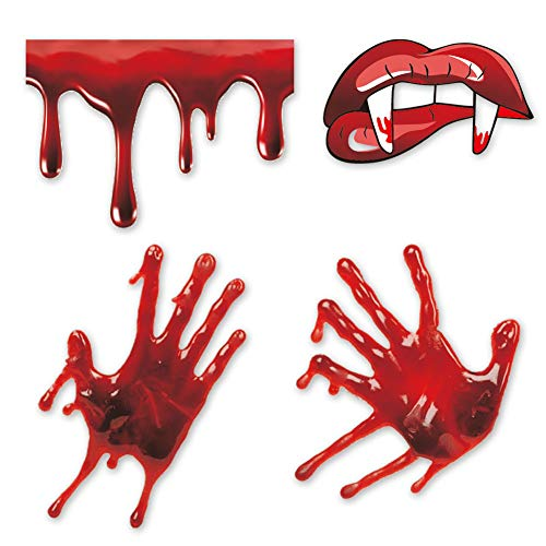 Halloween Bloody Handprint Decal, Vampire Bloody Lips with Sharp Teeth Sticker, Screaming Bloody Decal for Windows, Car, Bumper Decor Halloween Home Wall Art]()