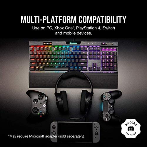 Corsair HS35 - Stereo Gaming Headset - Memory Foam Earcups - Headphones Work with PC, Mac, Xbox One, PS4, Switch, iOS and Android – Carbon, 2.6