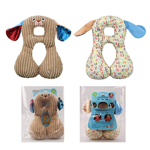 Demana Reverisible Baby Neck Support Pillow Head Support for Car Seat and Strollers,Super Soft for All Seasons,Doggie (Coffee) by Demana (Image #1)
