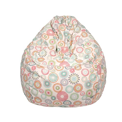 Gold Medal Bean Bags Tear Drop Cotton Bean Bag with Starburst Pinwheel - Beige, Large