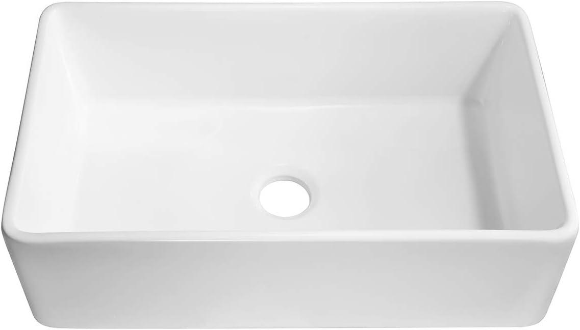KLXHOME 33 Apron-Front Fireclay Single Bowl Kitchen Sink, White Porcelain Ceramic Farmhouse Undermount, S8450W