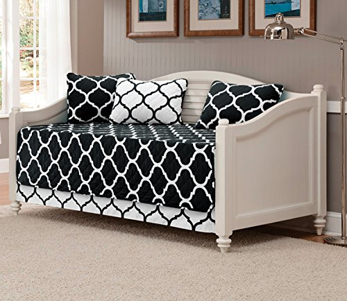 Mk Collection 5pc Modern Elegant Bedspread DayBed Cover Set Black/White Geometric Contemporary Pattern Quilted New