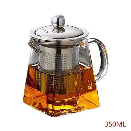 Heat-resistant Glass Teapot Kettle with Stainless Steel Filter,High-temperature Resistance Square Teapot, Glass Tea Maker Infusers,Glass Tea - Steel Teapot Square Stainless