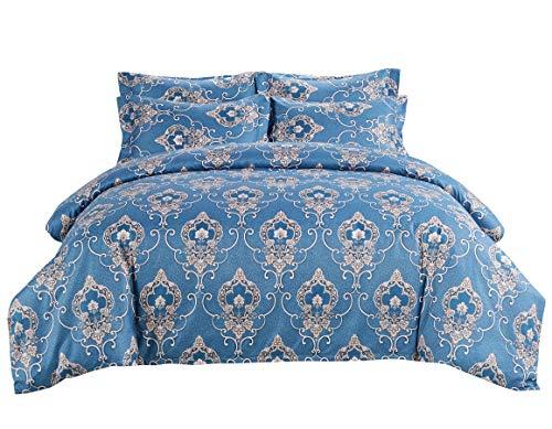 DelbouTree Microfiber Bedding Set,Blue Duvet Cover Set, Damask Print Comforter Cover,Queen