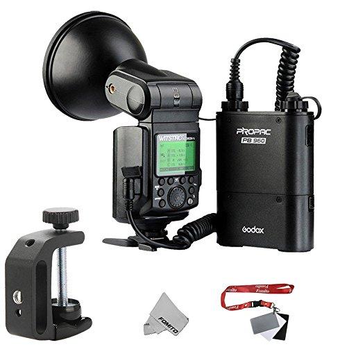 Godox AD360II Witstro Bare Bulb Flash Unit Speedlight HSS I-TTTL GN80 360Ws Built-in 2.4GHz Radio Transceiver for Nikon D810 D800E D750 D7100 DSLR Cameras + 4500mAh PB960 Lithium Battery Pack Black by Fomito