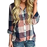 Todaies Women Top Casual Matching Color Long Sleeve Top Button Loose Plaid Shirt Blouse Top