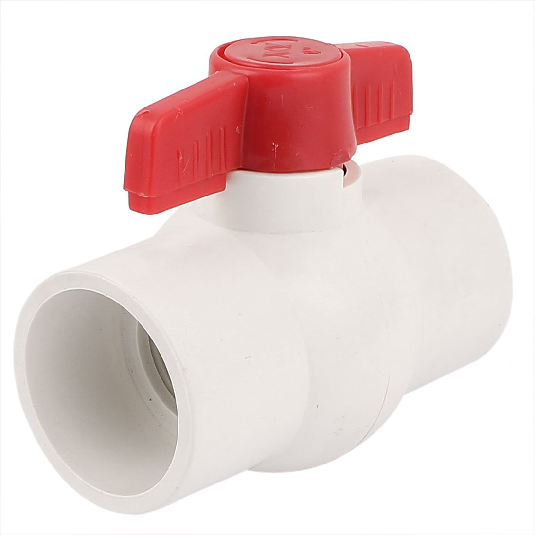 sourcingmap® 50MM/2' Dias Slip Ends Water Control PVC Ball Valve White Red a15111100ux0050
