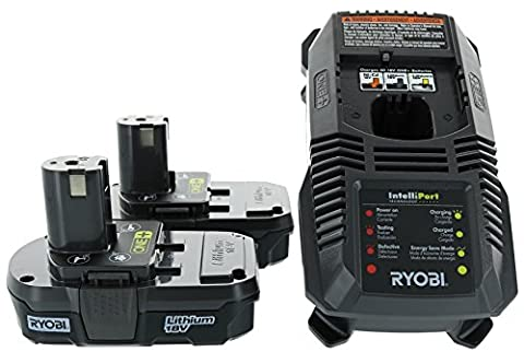 Ryobi P118 18V Dual Chemistry Lithium Ion / NiCad Battery Charger with 2 Genuine OEM P102 Compact Lithium Ion Batteries (Includes 1 x Charger and 2 x (Ryobi P108 Charger)