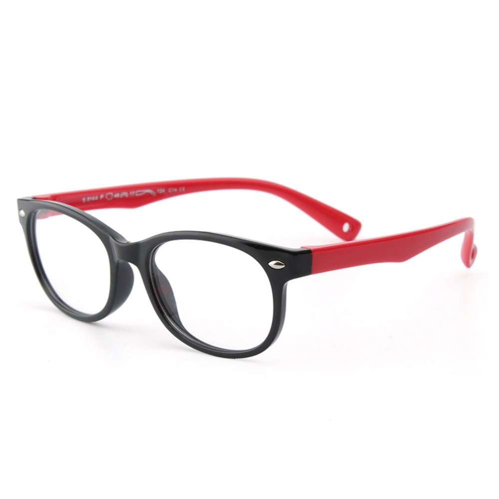 064f8305605 Children s Silicone Glasses Forepin® Flexible Kids Eyeglasses Frame with  Eyeglass Strap for Boys Girls - Balck and Red  Amazon.co.uk  Clothing