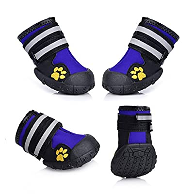 Fantastic Zone Waterproof Pet Boots Dog Boots for Various Size Dogs Labrador Husky Paw Protectors Shoes 4 Pcs by Fantastic Zone