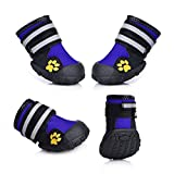 Fantastic Zone Waterproof Pet Boots Dog Boots for Various Size Dogs Labrador Husky Paw Protectors Shoes 4 Pcs,Blue,8 (3.94