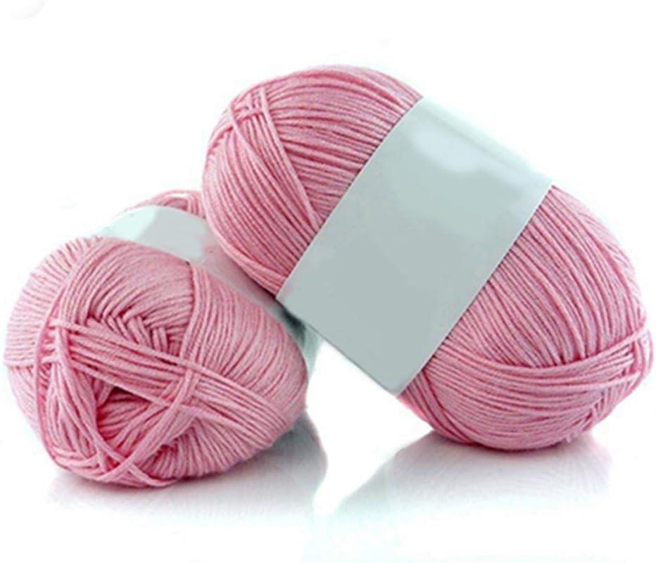 Qingsb- Ovillo de lana de bambú suave, 50 g por madeja, 1 pieza #6 Rosa: Amazon.es: Hogar