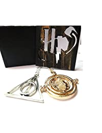 GSC Moda Harry Potter - Hermione 's Time Turner Granger Rotating Hour Glass and Deathly Hallows Necklace with its Wooden Box Gift