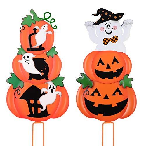 Unomor Metal Halloween Outdoor Decorations Pumpkin &Ghost Stake Signs 2 Sets -Cute Halloween Lawn Yard Decorations, Trick or Treat Halloween Prop