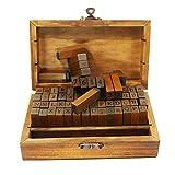 Alphabet Stamps Set, 70pcs Letter/Number/Symbol Wooden Rubber Stamp for DIY Craft Card Making Planner Scrapbooking Supplies