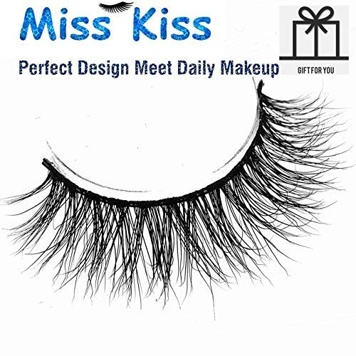 b804070622f Miss Kiss 3D Mink Lashes Reusable Strip,100% Siberian Mink Fur False  Eyelashes Hand