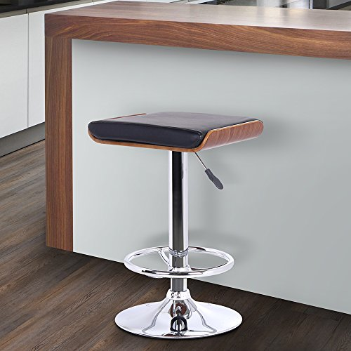 Armen Living LCJABABLKWA Java Barstool in Black Faux Leather, Walnut Wood and Chrome Finish