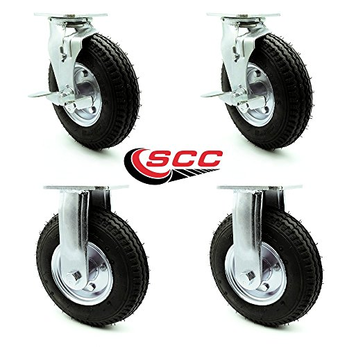 """8"""" Pneumatic Caster Set of 4-2 Swivel with Brakes/2 Rigid - Black Rubber Wheel - 1,200 lbs. Capacity - Service Caster Brand from Service Caster"""