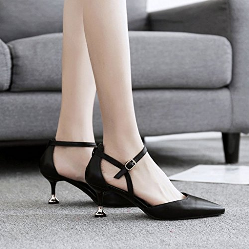 Heel Thin Color Black Bandage Mid Work High Shoes Shoes Pointed Sandals Women's Heels ZCJB 39 Shoes Wedding Heels Size Black 0qpCF