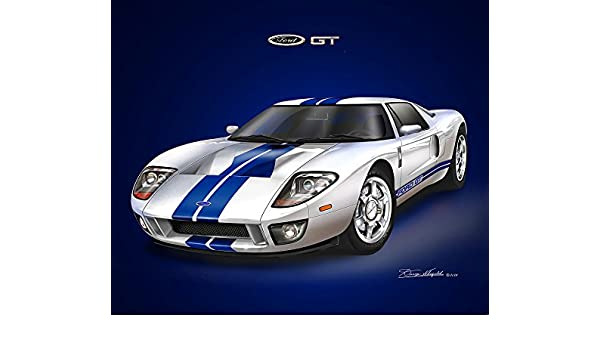 Amazon Com  Ford Gt Centennial White Art Print Poster By Artist Danny Whitfield Size  Posters Prints