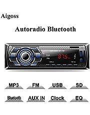 Aigoss Autoradio Bluetooth, Control Remoto Manos Libres FM Estéreo de Coche 60W x 4, Apoyo de Reproductor MP3 Llamadas Manos Libres, Función de Radio y de Archivo