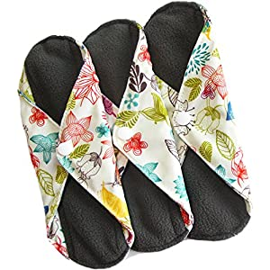 Heart Felt Bamboo Reusable XL Cloth Menstrual Pads (3 Pack, Heavy Flow) with Charcoal Absorbency Layer, Washable Sanitary Napkins, Overnight Long Panty Liners (Floral Print)