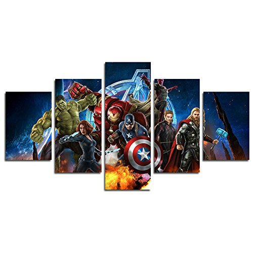 AtfArt 5 Piece Miracle Avenger Ultron Super Hero Canvas Painting for Living Room Home Decor Canvas Art Wall Poster (No Frame) Unframed HB32 50 inch x30 inch…