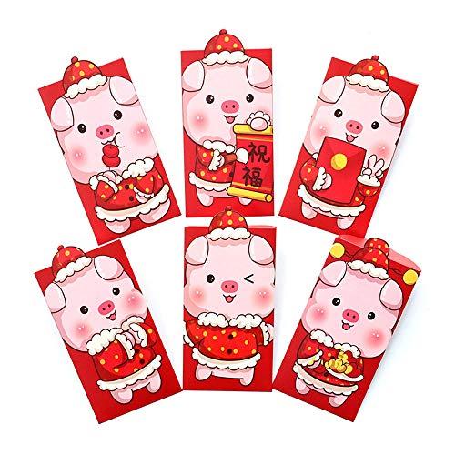 Xinzhi 2019 Año Nuevo Paquete Rojo -6pcs Año del Cerdo Personalidad Creativa Dibujos Animados Paquete Rojo