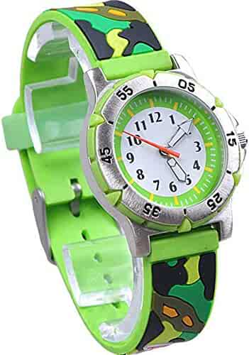 JIAYAXIN Children's Cartoon Waterproof and Durable Electronic Watch Military Camouflage Pattern