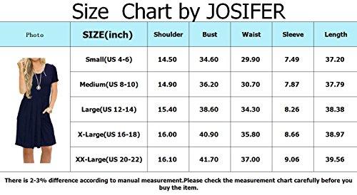 Short Women's Swing Pleated X Loose Casual Sleeveless T amp; JOSIFER Pockets Shirt navy with Sleeve Dress qA1B55